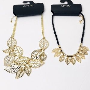 Set of 2 Statement Leaf Chokers in Goldtone